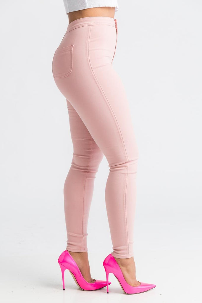 SuperGa High Waist Pants - Baby Pink - Swank A Posh