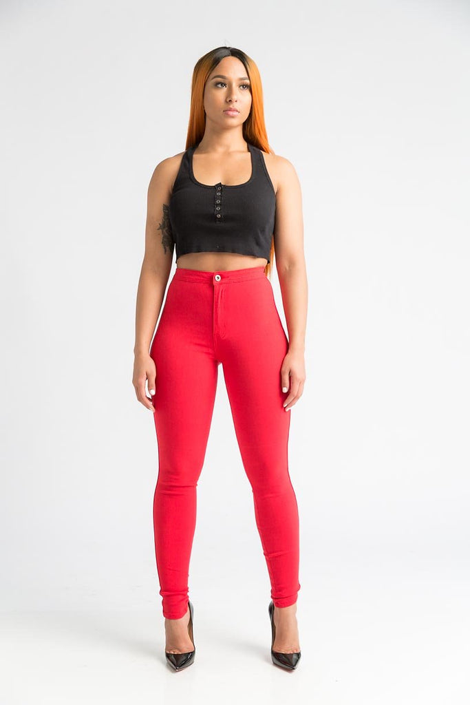 SuperGa High Waist Pants - Red - Swank A Posh