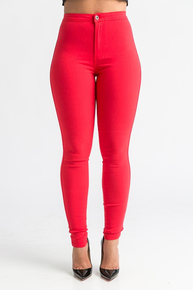 SuperGa High Waist Stretchy Jeans - Red - Swank A Posh