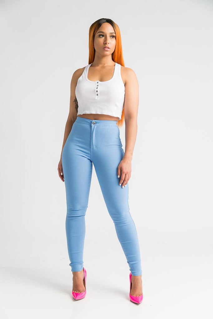 SuperGa High Waist Pants - Baby Blue - Swank A Posh
