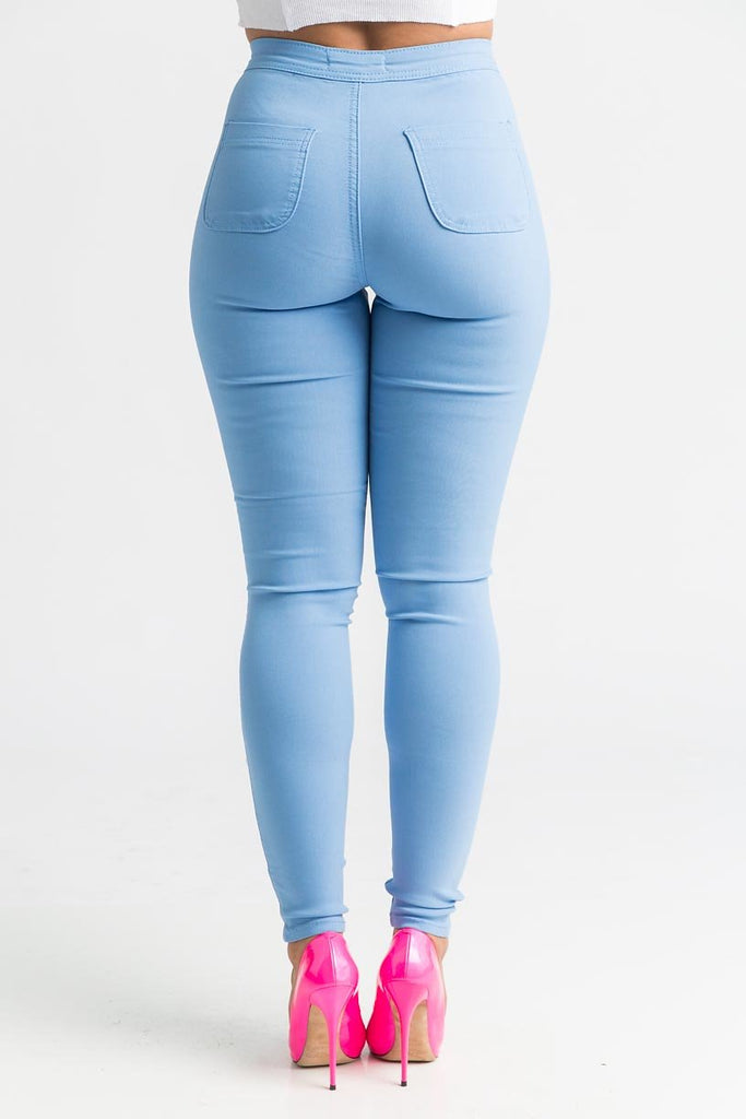 SuperGa High Waist Stretchy Jeans - Baby Blue - Swank A Posh