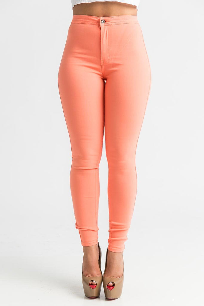 SuperGa High Waist Stretchy Jeans - Orange Sorbet - Swank A Posh