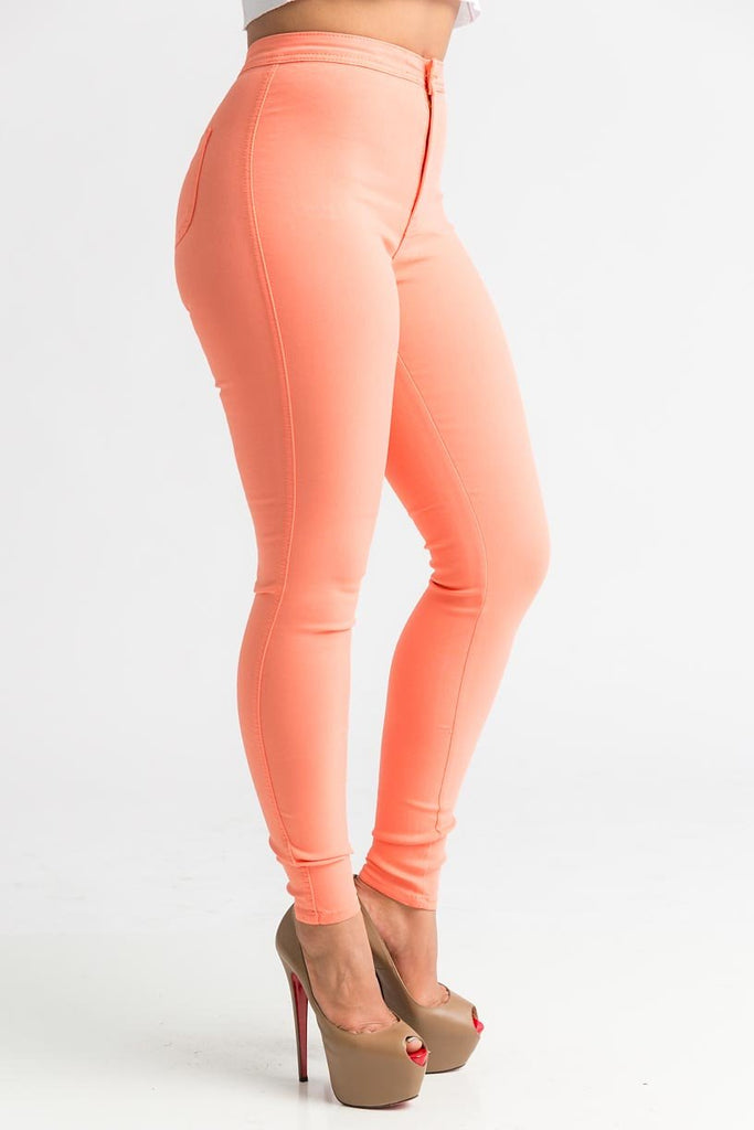 SuperGa High Waist Pants - Orange Sorbet - Swank A Posh