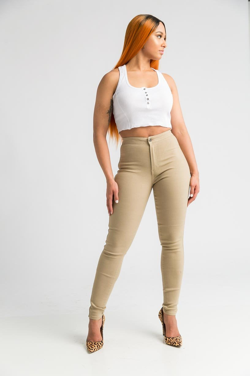 SuperGa High Waist Stretchy Jeans - Khaki - Swank A Posh