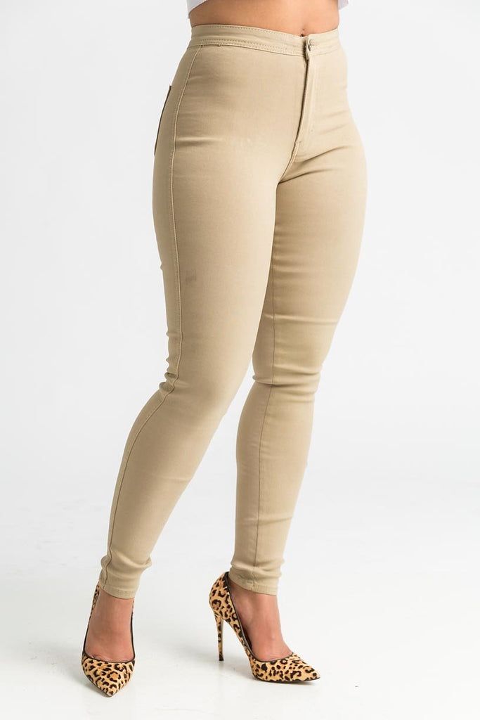 SuperGa High Waist Pants - Khaki - Swank A Posh