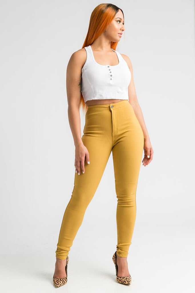 SuperGa High Waist Stretchy Jeans - Mustard - Swank A Posh
