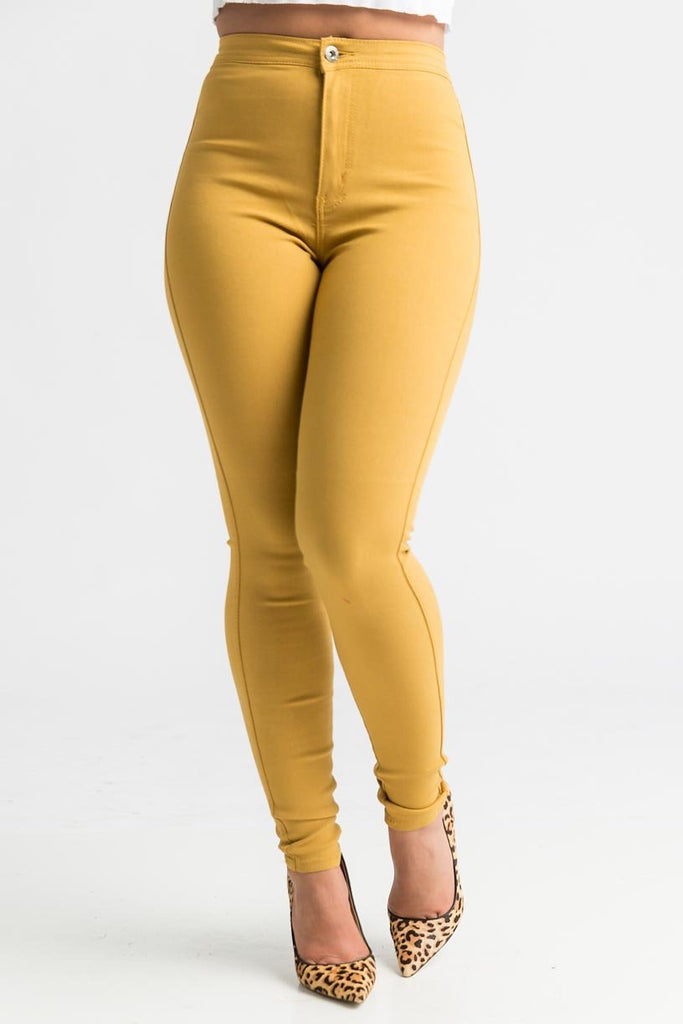 SuperGa High Waist Pants - Mustard - Swank A Posh