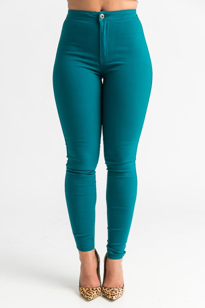 SuperGa High Waist Stretchy Jeans - Teal - Swank A Posh