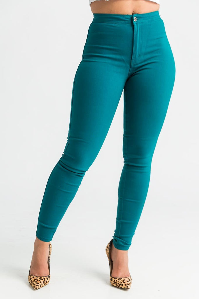 SuperGa High Waist Pants - Dark Teal - Swank A Posh
