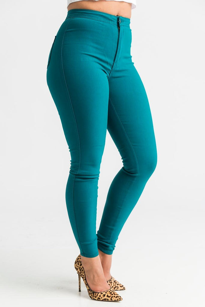 SuperGa High Waist Pants - Teal - Swank A Posh