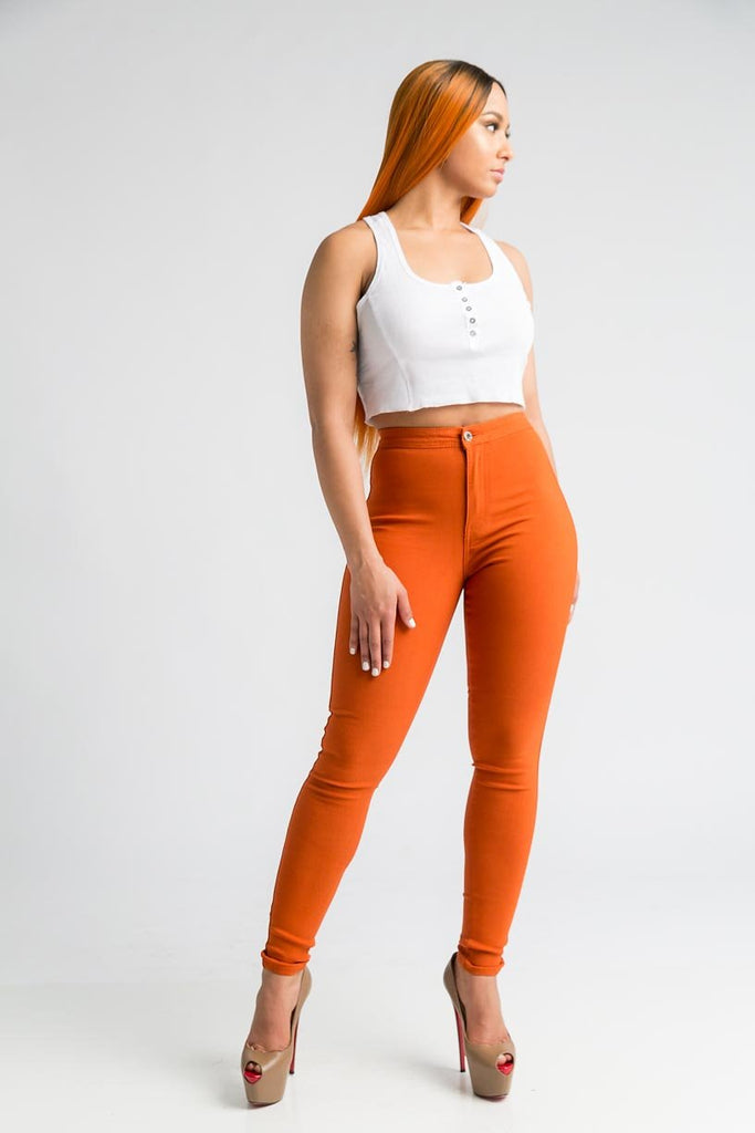 SuperGa High Waist Stretchy Jeans - Rust - Swank A Posh