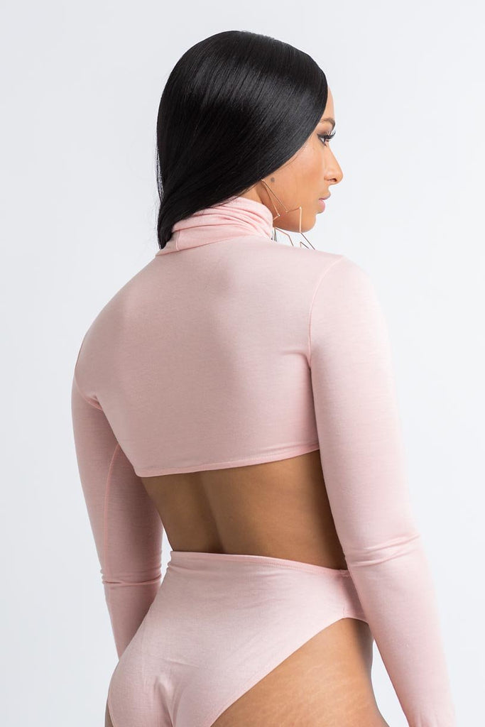 Counted Out Turtle Neck Cut Out Bodysuit - Swank A Posh