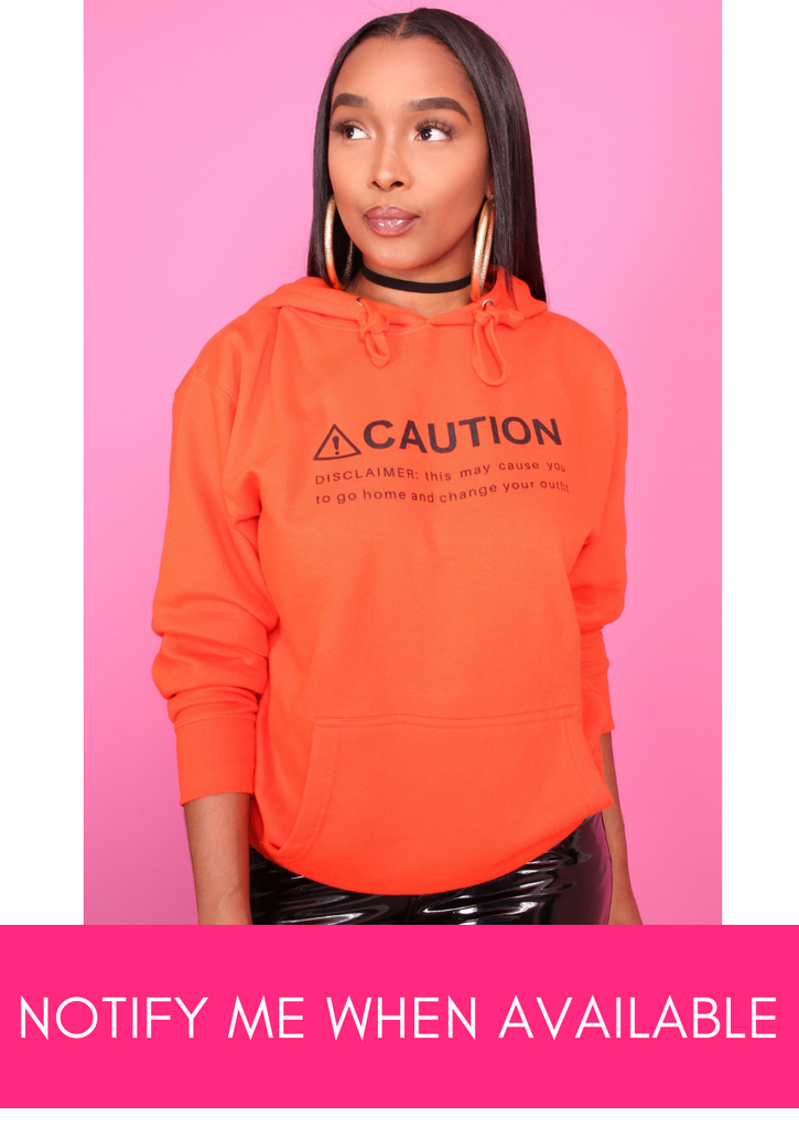Caution Orange Printed Pullover Hoodie - Swank A Posh