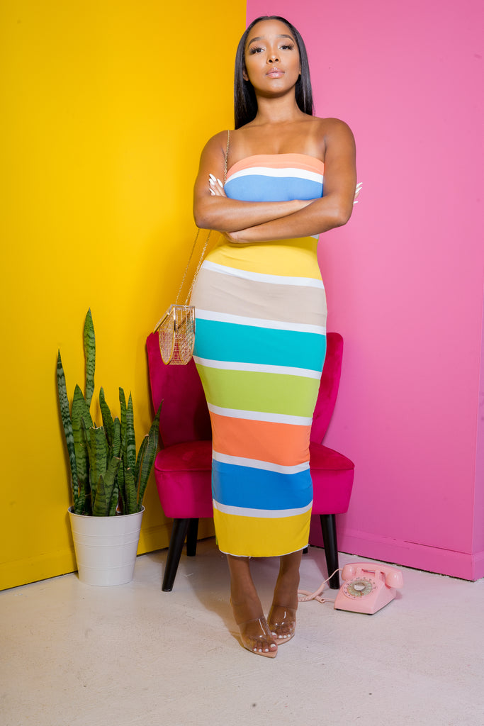 Keep In Line Multicolored Tube Dress - Swank A Posh