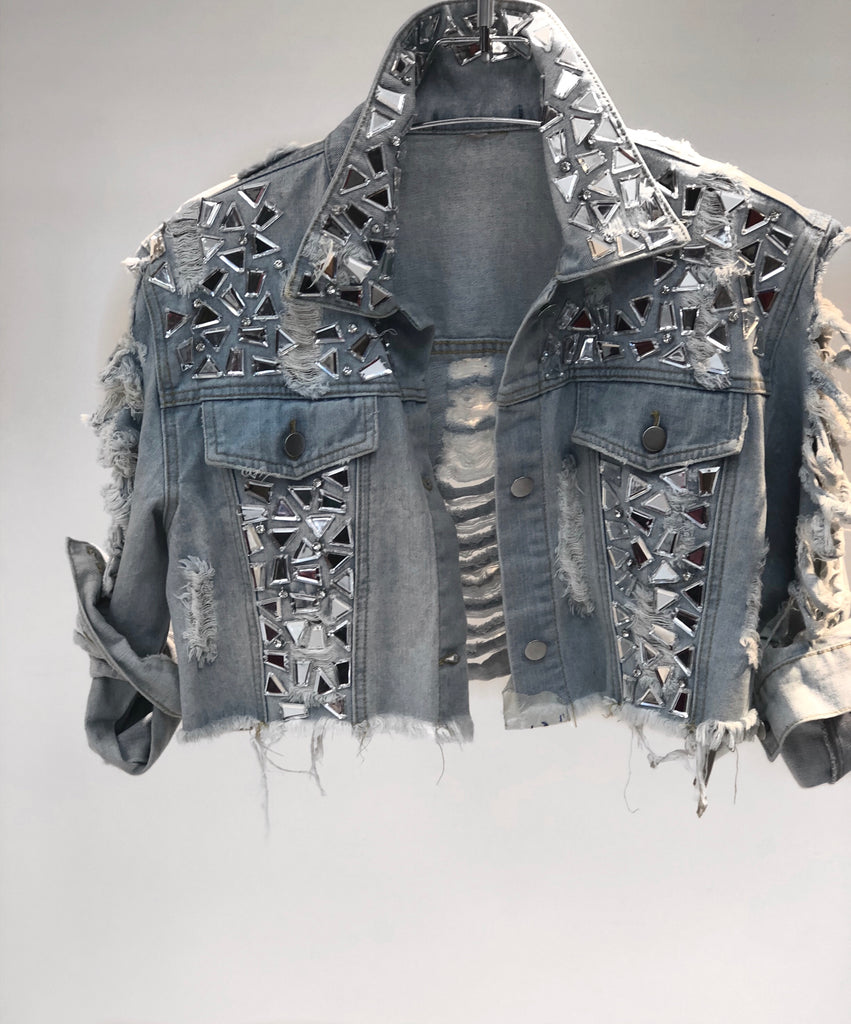 Bad Luck Cracked Mirror Denim Jacket - Swank A Posh