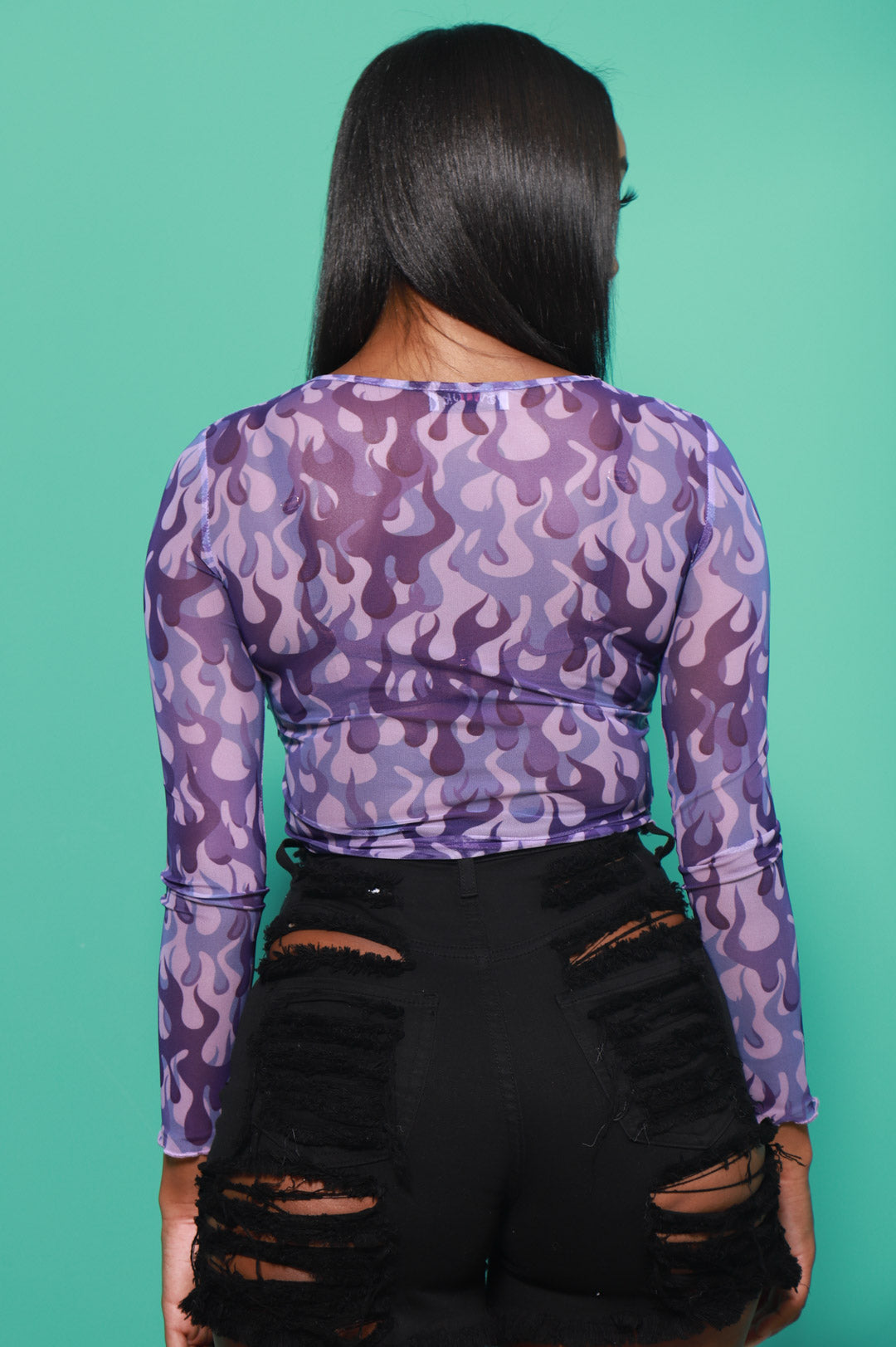 New Flame Printed Mesh Top - Purple