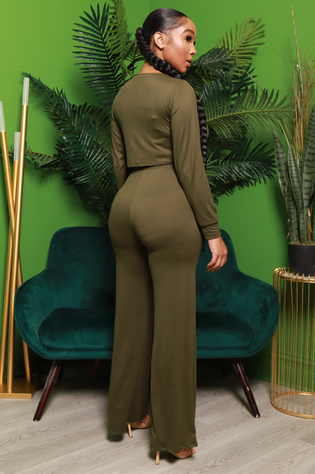First Step Wide Leg Pants Set - Olive - Swank A Posh