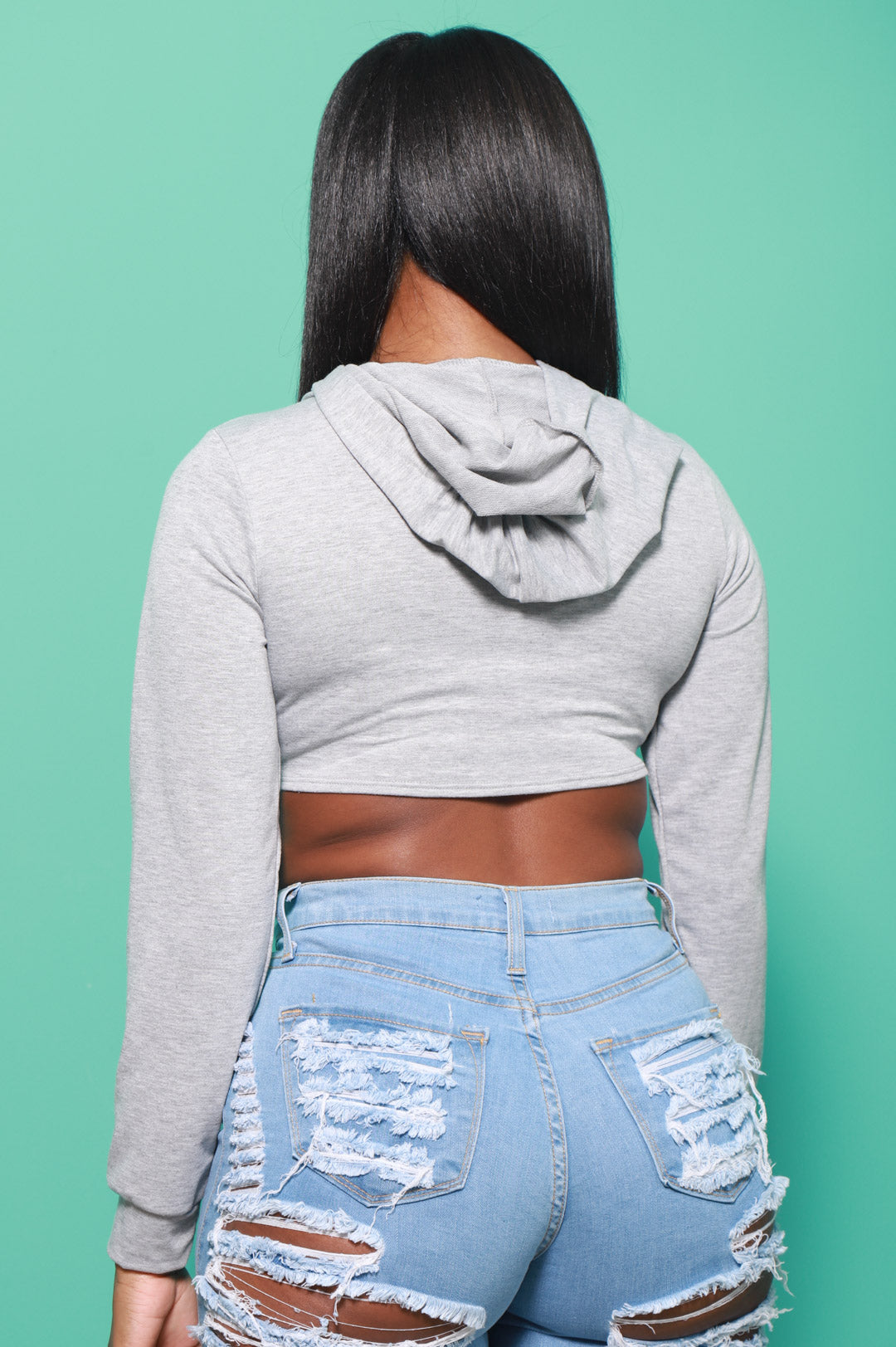 The Set Up Cropped Asymmetric Hoodie - Heather Grey
