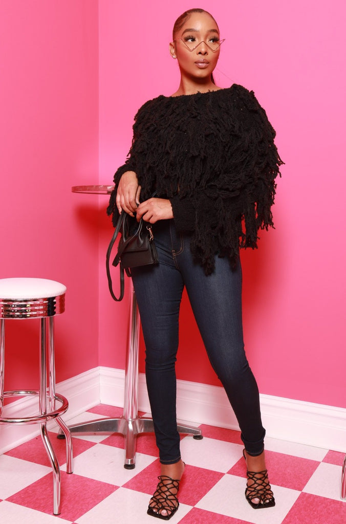 Your Love Shaggy Fringe Sweater- Black - Swank A Posh