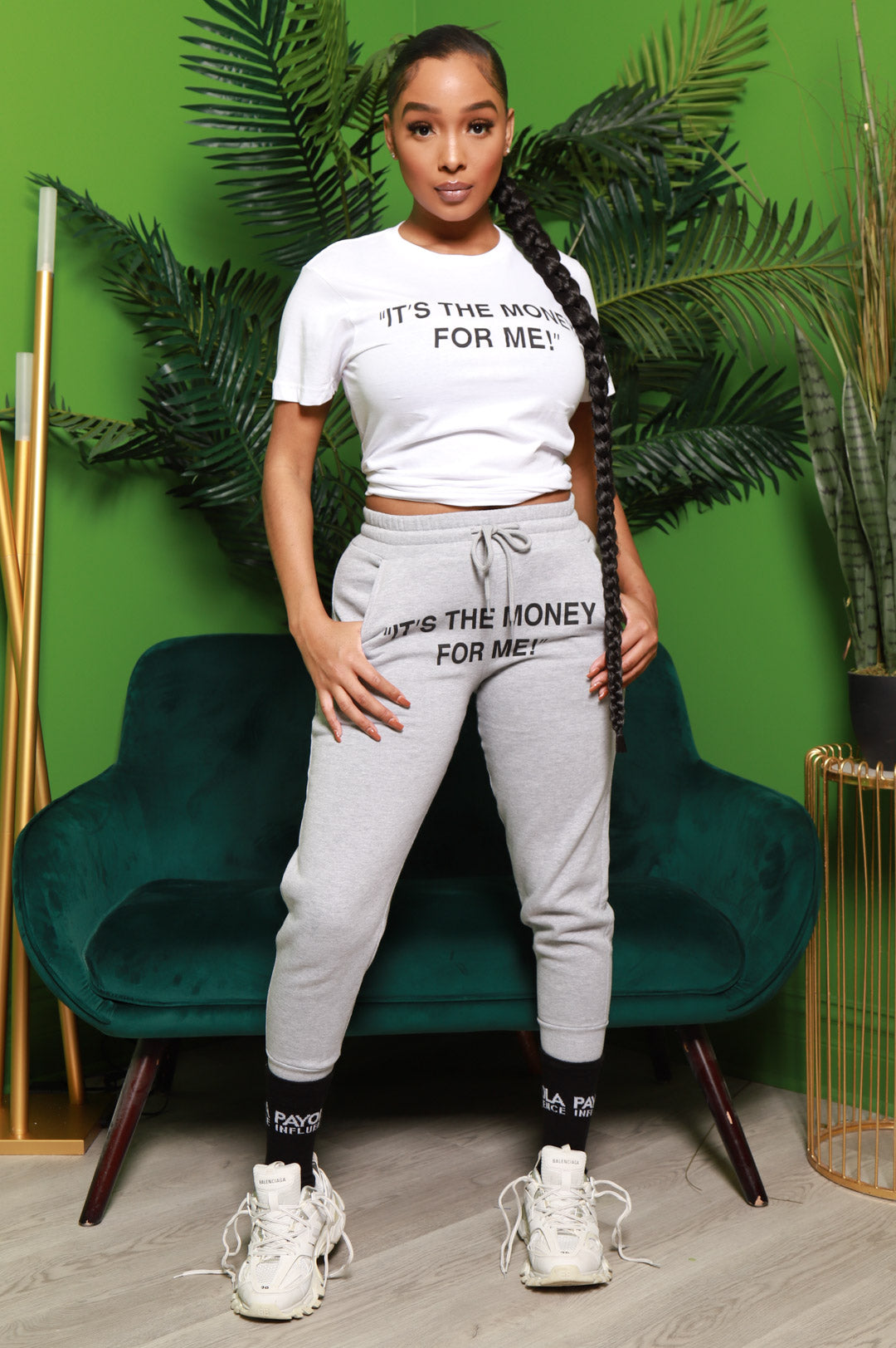 It's The Money Printed Jogger Pants - Heather Grey - Swank A Posh