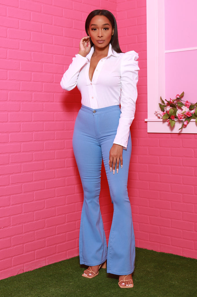 Major High Rise Flare Stretchy Jeans - Baby Blue - Swank A Posh