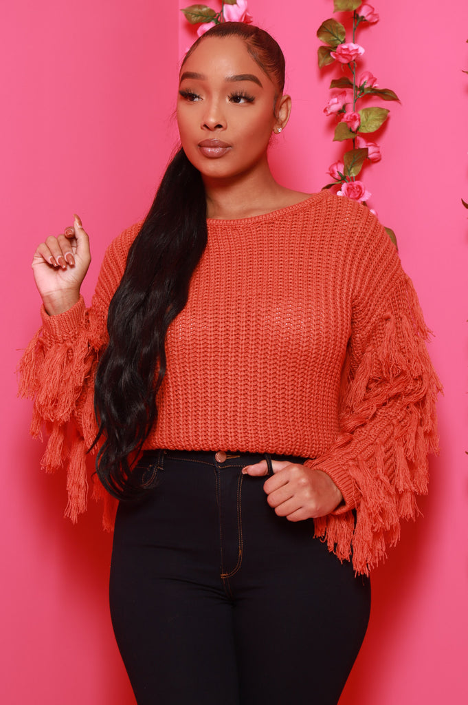Prove It Fringe Sleeve Sweater - Orange - Swank A Posh