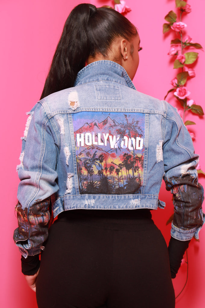Hollywood Printed Denim Jacket - Light Wash - Swank A Posh