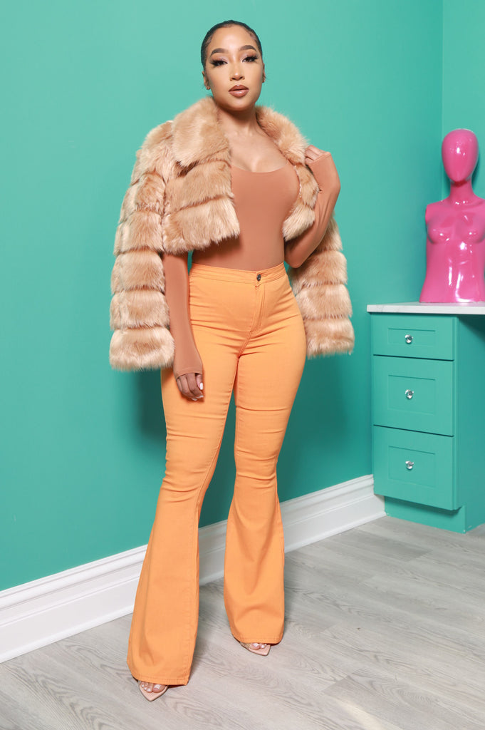 Autumn Cropped Faux Fur Jacket - Taupe - Swank A Posh