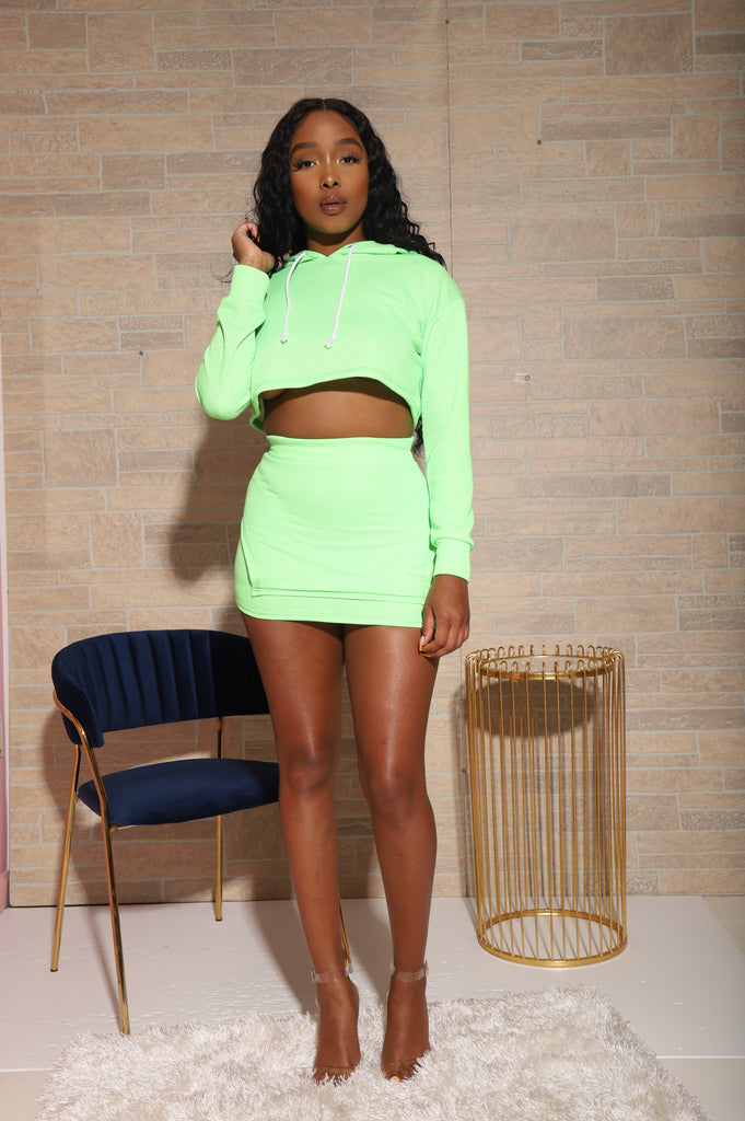 Nice Behavior Skirt Set - Neon Green - Swank A Posh