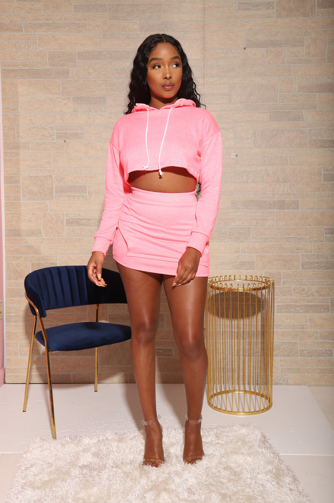 Nice Behavior Skirt Set - Pink - Swank A Posh