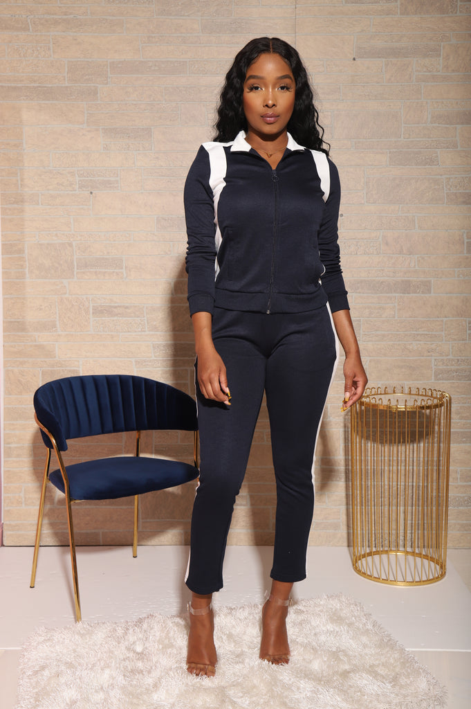 All That Jogger Sweatsuit - Navy - Swank A Posh