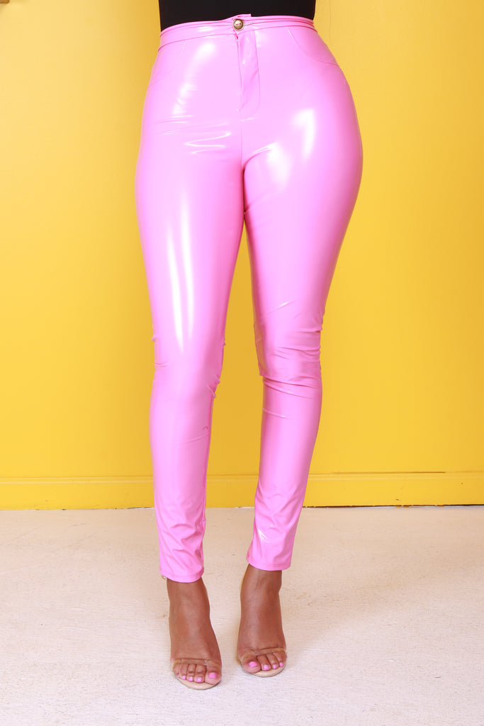 Barbie Dreams Pink Latex Stretchy Pants - Swank A Posh