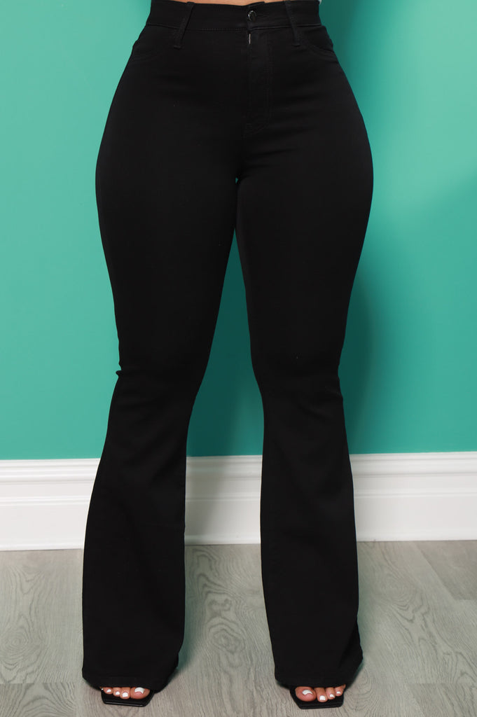 Ring My Bells Black Bell Bottom Flare Jeans