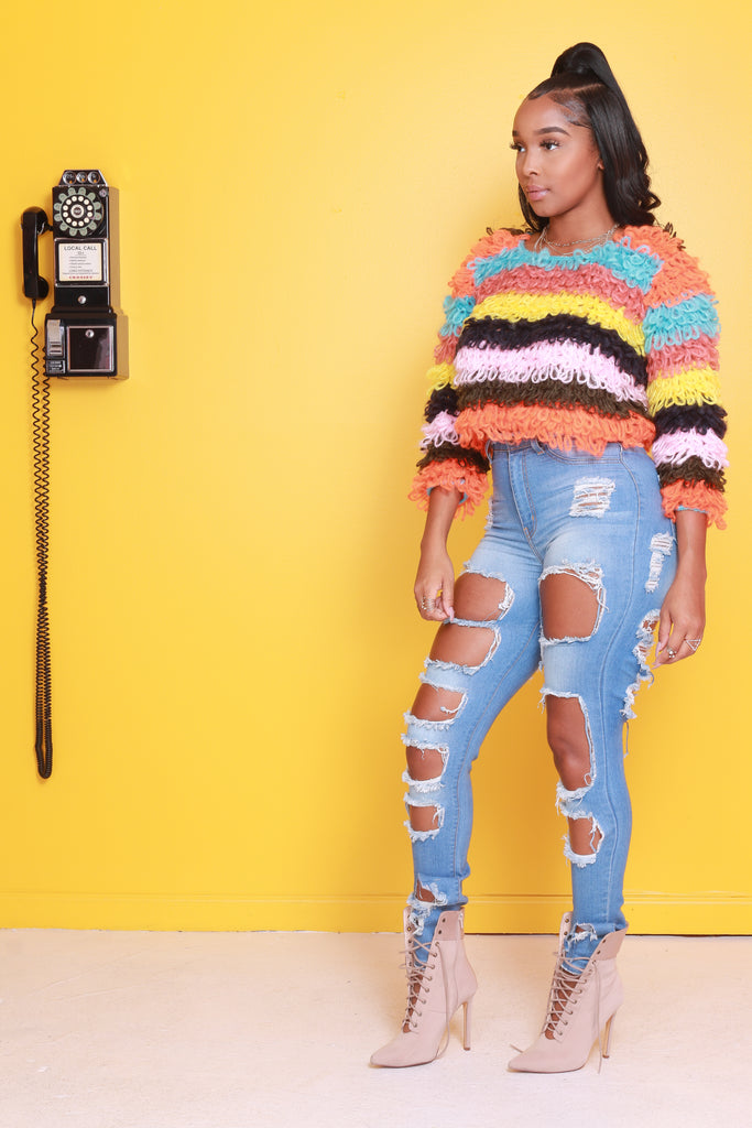 No Shame Multi Shaggy Sweater - Swank A Posh