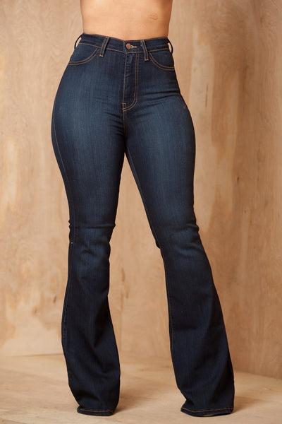 Ring My Bells Dark Wash Bell Bottom Jeans - Swank A Posh