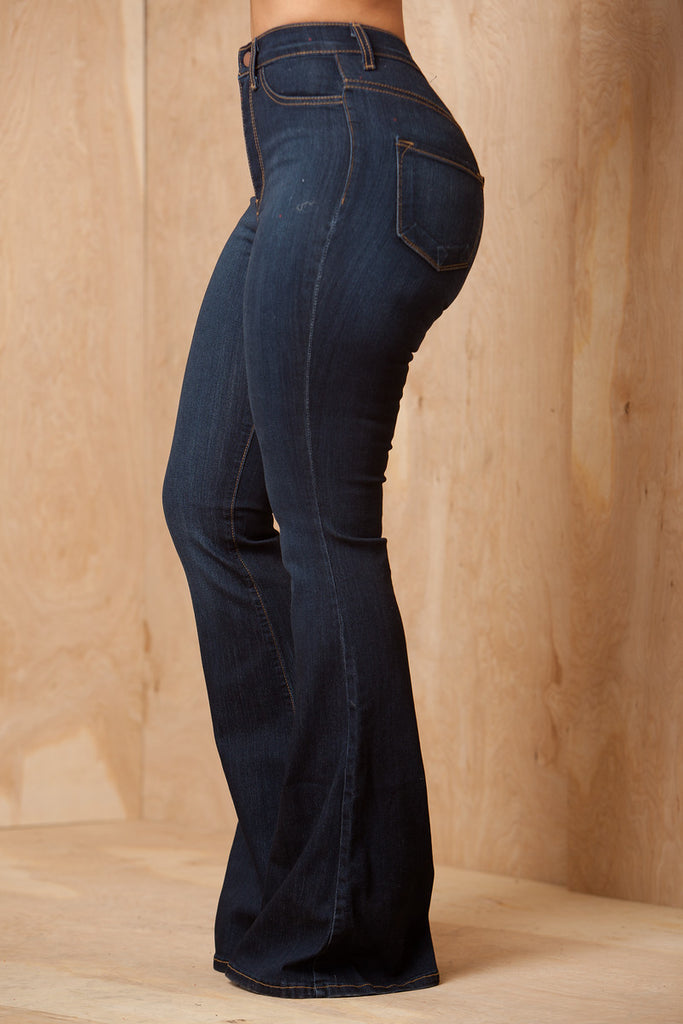 Ring My Bells Dark Wash Bell Bottom Flare Jeans - Swank A Posh