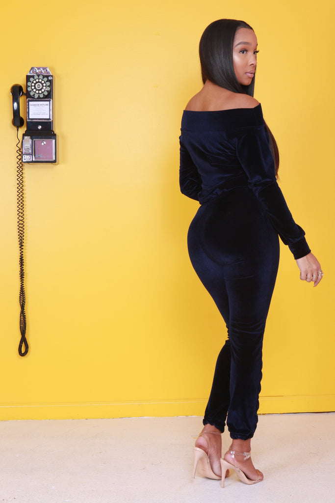The Cult Velvet Jumpsuit - Navy - Swank A Posh