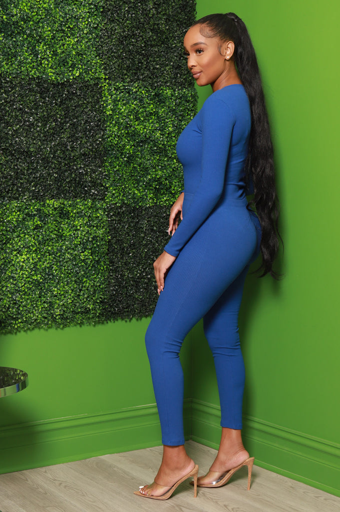Close Enough Ribbed Pants Set - Royal Blue - Swank A Posh