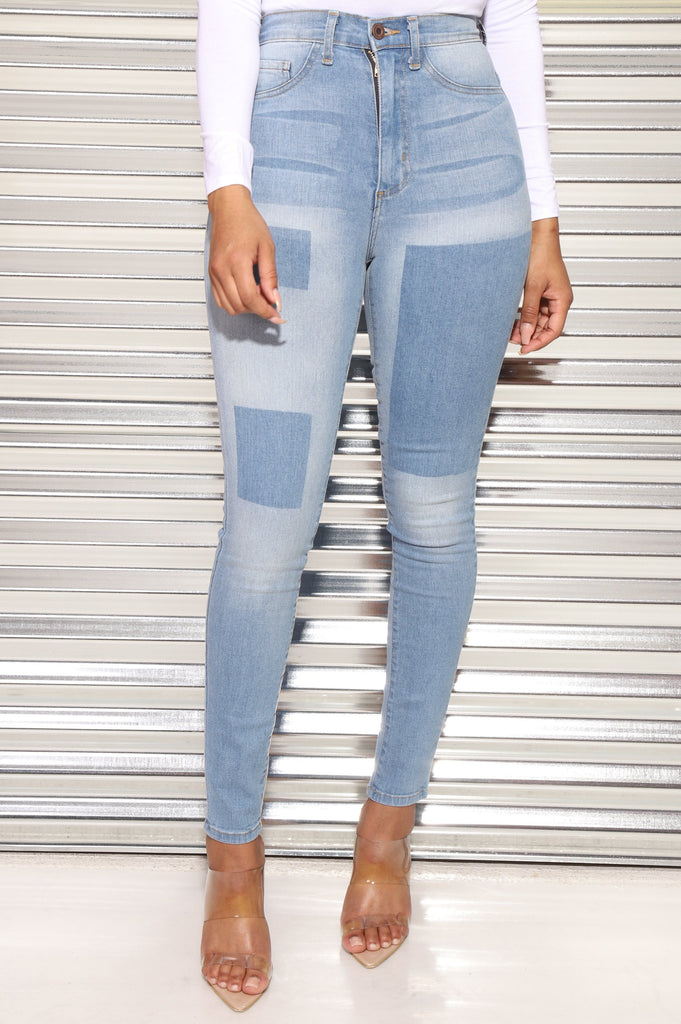 Stuck On High Rise Patch Jeans - Swank A Posh