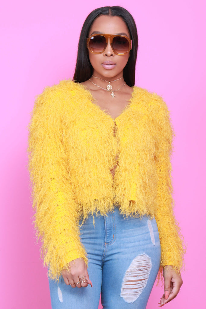 Lost It Mustard Shaggy Sweater - Swank A Posh