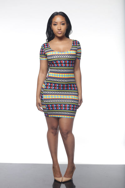 Arrowed Out Printed Mini Dress