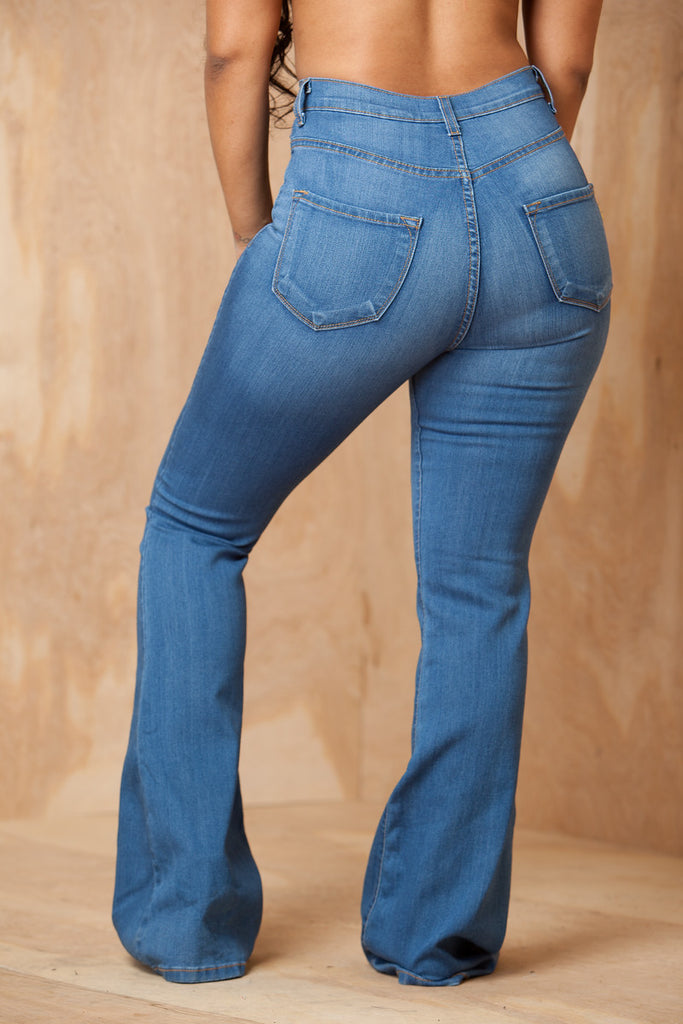 Ring My Bells Light Wash Bell Bottom Jeans - Swank A Posh