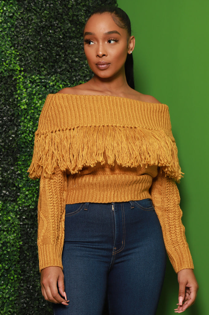 Ginger Off The Shoulder Fringe Sweater - Mustard - Swank A Posh