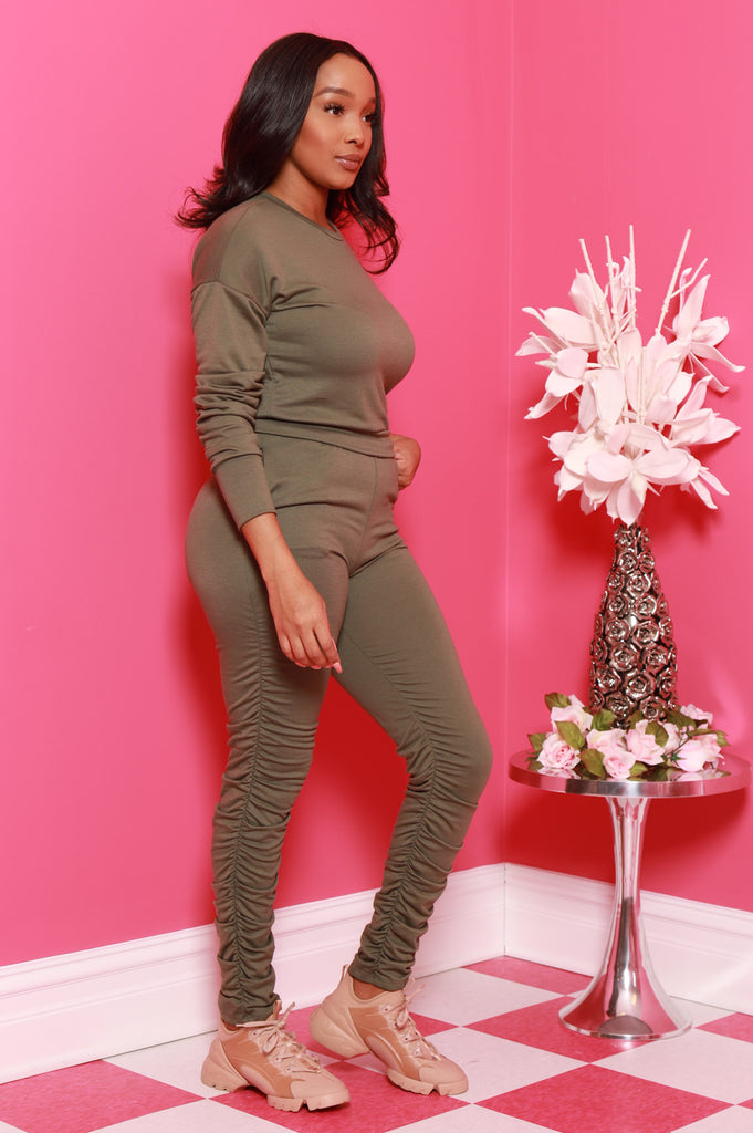 Out Of Hand Ruche Jogger Set - Olive - Swank A Posh