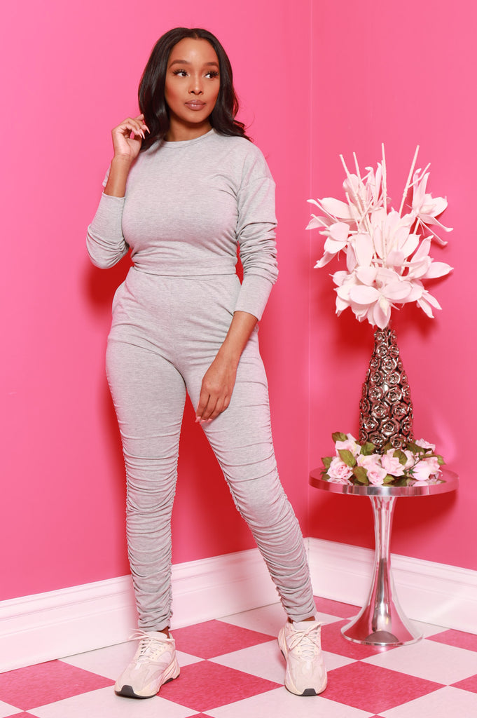 Out Of Hand Ruche Jogger Set - Heather Grey - Swank A Posh