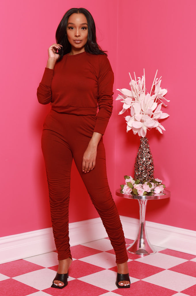 Out Of Hand Ruche Jogger Set - Burgundy - Swank A Posh