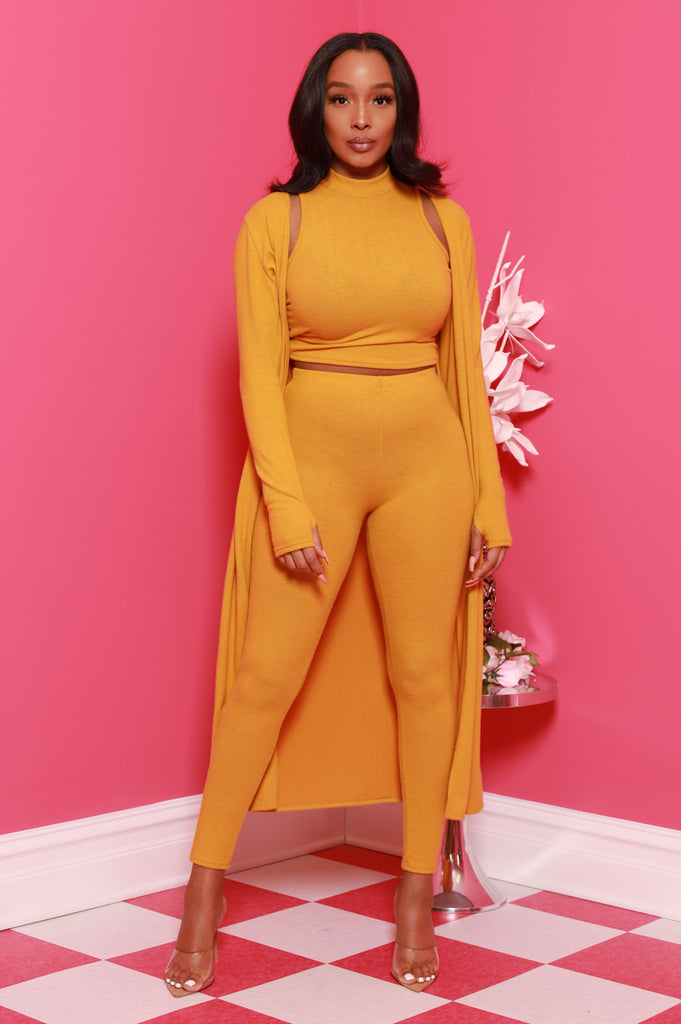 Speck 3 Piece Pants Set - Mustard - Swank A Posh
