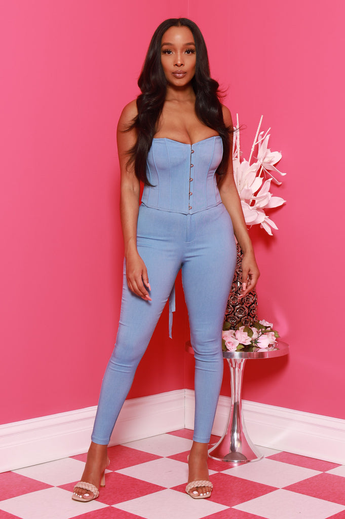 Hot Pick Corset Pants Set - Powder - Swank A Posh