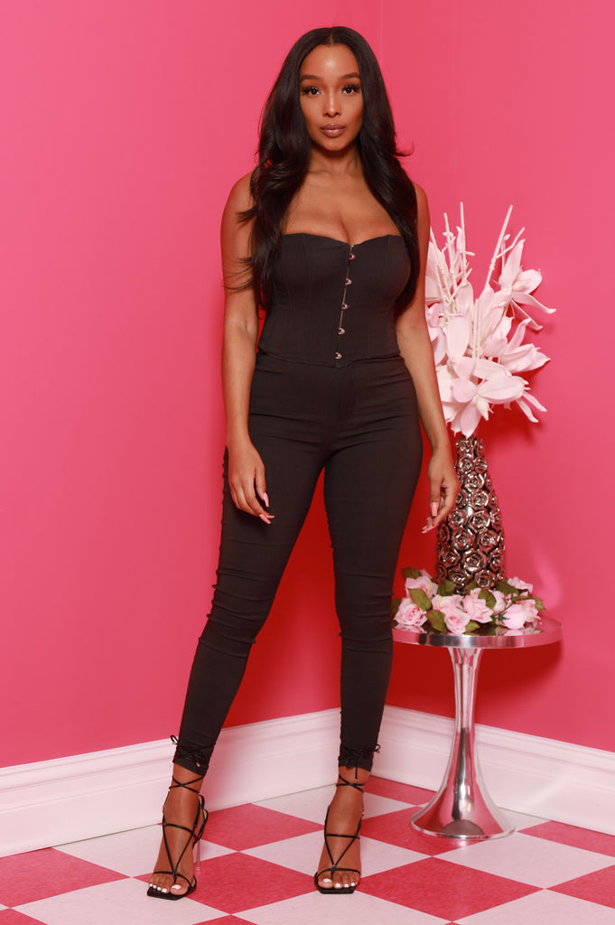Hot Pick Corset Pants Set - Black - Swank A Posh