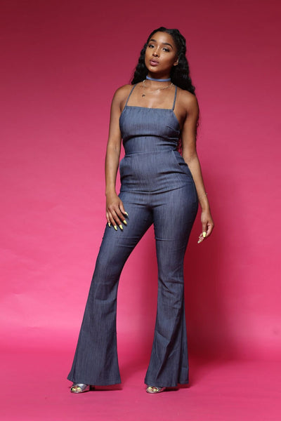 Jessie Denim Halter Jumpsuit